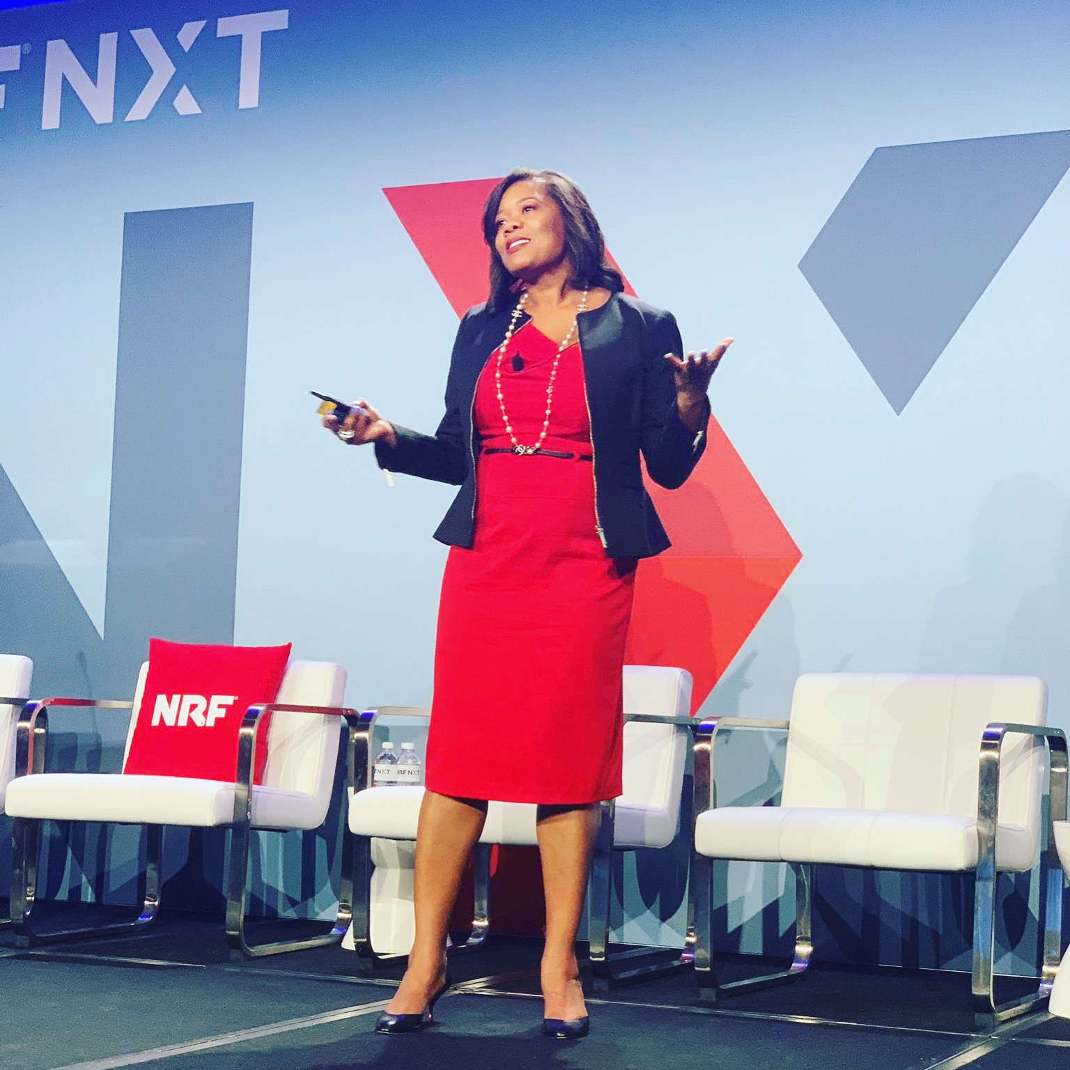Lockie Andrews giving a Ted-style talk at the NRF NXT conference in Las Vegas July 2019.